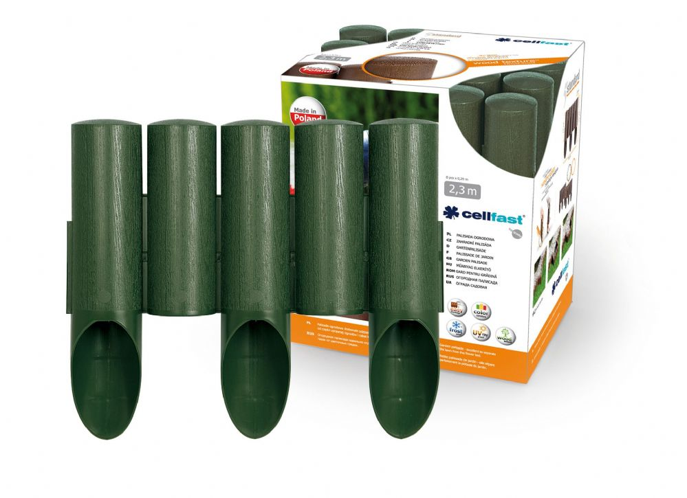 Garden Plastic Palisade 7.5ft - 2.3m Long - 5 elements STANDARD in Dark Green Color